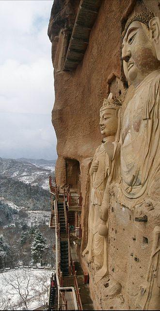 Maijishan Grottoes - Huge Bodhisattva sculptures at Maijishan