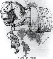 "A political cartoon. A closed fist protrudes from a jacket-sleeve covered in dollar signs; a cuff-link is marked ""MARK $ HANNA"". The hand tightly grasps a chain from which hangs a tiny, sorry-looking figure marked ""McKinley"". ""A Man of Mark!"" concludes the cartoon's caption."