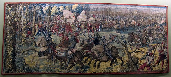 The Battle of Pavia in 1525. Landsknecht mercenaries with arquebus. Tapestries of the Battle of Pavia by Bernard van Orley, between 1528 and 1531 Manif. di bruxelles su dis.di bernart von orley, arazzi della battaglia di pavia, attacco alla gendarmeria francese, IGMN144483, 1526-31.JPG