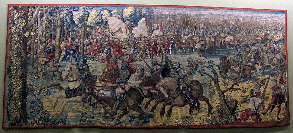 Manif. di bruxelles su dis.di bernart von orley, arazzi della battaglia di pavia, attacco alla gendarmeria francese, IGMN144483, 1526-31