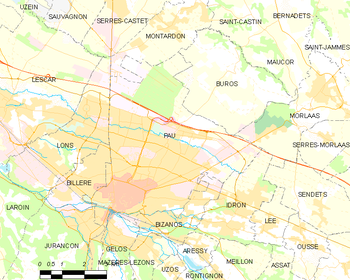 Map of the commune of Pau
