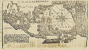 Battle of Cartagena de Indias - Map of Cartagena de Indias from Gentleman's Magazine 1740
