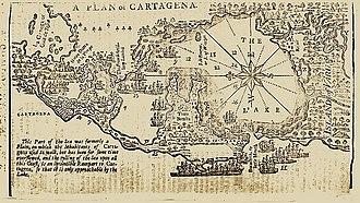 Battle of Cartagena de Indias - Map of Cartagena de Indias from Gentleman's Magazine 1740