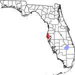 A state map highlighting Pinellas County in the middle part of the state. It is small in size.