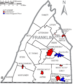 Map of Franklin County, Pennsylvania with Municipal Labels showing Boroughs (red), Townships (white), and Census-designated places (blue).