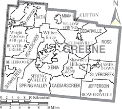 Map of Greene County Ohio With Municipal and Township Labels.PNG