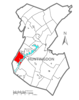 Map of Huntingdon County, Pennsylvania Highlighting Lincoln Township