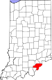 Map of Indiana highlighting Clark County.svg