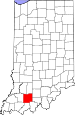 Map of Indiana highlighting Dubois County.svg