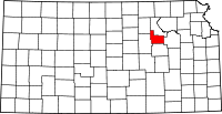 Map of Kansas highlighting Geary County