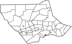 Map of Lycoming County, Pennsylvania highlighting Montgomery