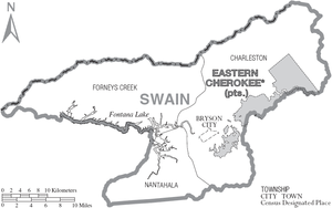 Map of Swain County, North Carolina With Municipal and Township Labels