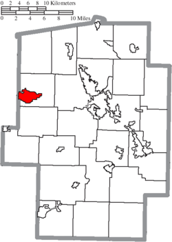 Location of Sugarcreek in Tuscarawas County