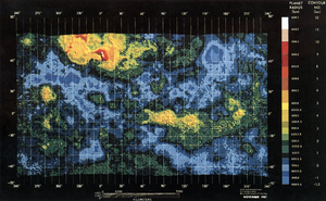 "Ishtar Terra - Color-coded elevation map of Venus, showing the elevated ""continents"" in yellow: Ishtar Terra at the top and Aphrodite Terra just below the equator to the right."