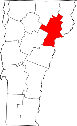 map of Vermont highlighting Caledonia County