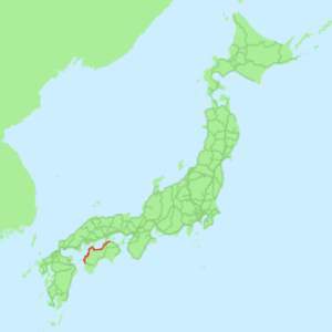 Yosan Line - Image: Map railroad japan yosan rough