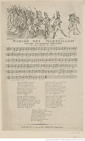 Claude Balbastre - Marche des Marseillois chantée sur diferans theatres, London: W. Holland, 1792.