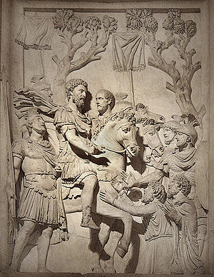 Forgiveness - Emperor Marcus Aurelius shows clemency to the vanquished after his success against tribes. (Capitoline Museum in Rome)