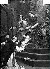 Maria schenkt het portret van de heilige Dominicus aan de kerkbewaarder van Soriano