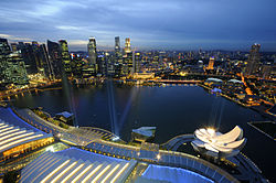 Marina Bay and the Singapore skyline at dusk - 20110311.jpg