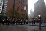 Marine band plays in New York rain DVIDS452615.jpg
