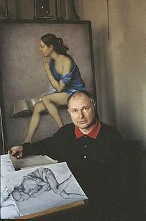 Mario Donizetti mentre dipinge.jpg