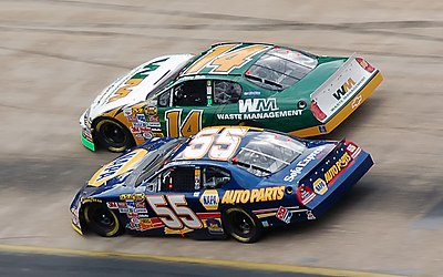 No. 14 Marlin battles No. 55 Michael Waltrip at the 2006 spring Bristol race. MarlinWaltrip2006.jpg