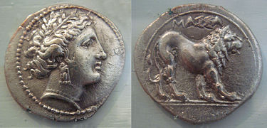 A silver drachma from Massalia (modern Marseille, France), dated 375-200 BC, with the head of the goddess Artemis on the obverse and a lion on the reverse Massalia large coin 5th 1st century BCE.jpg