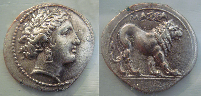 Massalia (modern Marseille) silver coin with Greek legend, a testimony to Greeks in pre-Roman Gaul, 5th-1st century BC Massalia large coin 5th 1st century BCE.jpg