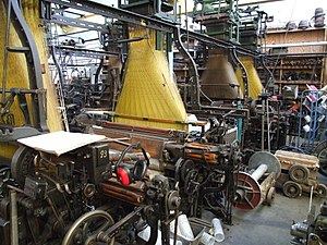 Jacquard loom - Four Hattersley looms with the distinctive Jacquard head