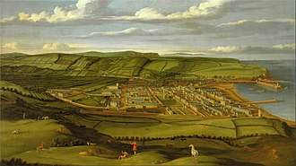 Whitehaven - Matthias Read's view of Whitehaven, circa 1738, showing the planned town of Sir John Lowther.
