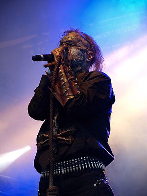 Attila Csihar, the current singer of the Norwegian black metal band Mayhem, live at Jalometalli 2008 in Oulu, Finland