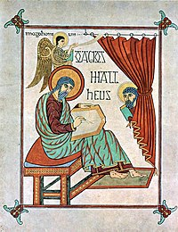 Saint Matthew from the Lindisfarne Gospels.