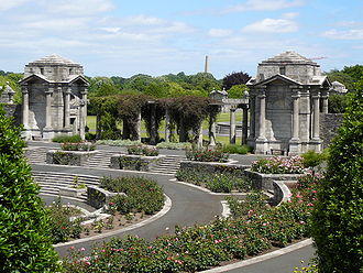 Irish National War Memorial Gardens - Central Sunken Rose Garden  with view of one of the pairs of granite Bookrooms