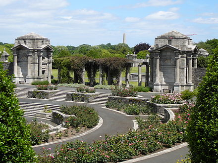 The Irish National War Memorial Gardens in Dublin, Ireland honour Irish soldiers who gave their lives in the First World War, as well as those who fought in Irish regiments of the various Allied armies Memorial Rose-Garden 001.JPG