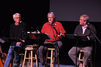 The Firesign Theatre - Surviving members of the Firesign Theatre paying tribute to the late Peter Bergman on April 21, 2012; left to right: Austin, Ossman, Proctor