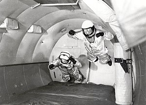 "Reduced-gravity aircraft - Project Mercury astronauts on board a C-131 Samaritan flying as the ""vomit comet"", 1959"