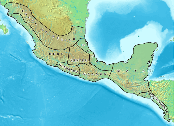 Mesoamerica and its cultural areas Mesoamerica english.PNG
