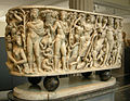 Met, roman, sarcophagus with dyonisus on a panther w. attendants, four seasons, tellus and ocean 220-230 ca. 02.JPG