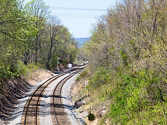 Metropolitan Subdivision - Another View of Metropolitan subdivision line. Dickerson spur splits off to the left. Monocacy river is just beyond the curve in the photograph.