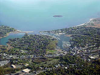 Milford, Connecticut - Aerial view of Milford city center and harbor
