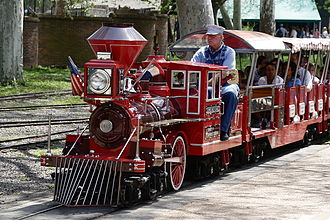 Ridable miniature railway - Emerson Zooline Railroad's Chance Rides C.P. Huntington train in Saint Louis Zoo, one of hundreds of exact copies of this ride model in locations worldwide.