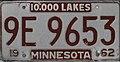 Minnesota 1962 license plate - Number 9E 9653.jpg