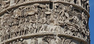 "Marcomannic Wars - The ""Miracle of the Rain"", from the Aurelian column. An unidentified ""rain god"" (top right) saves the Roman army."