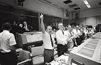 Mission Control celebrates the successful splashdown of Apollo 13