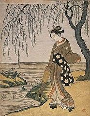 Mitate (Parody) of Ono no Tofu (Famous calligrapher of the Heian period)