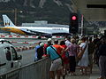 Monarch Airlines aeroplane taxiing on Gibraltar Airport's runway, Winston Churchill Avenue, Gibraltar.jpg