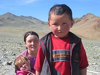 Light skin - Light-skinned Mongolian mother and child