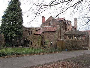 Monmouth Priory - The side of the priory, showing the garden