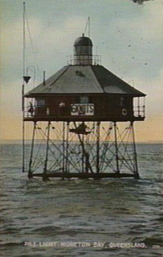 Moreton Bay Pile Light - The second Moreton Bay Pile Light ca. 1913